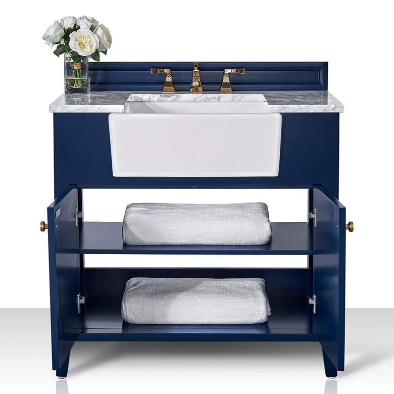 "Adeline Heritage Blue 36""W White Marble Single Sink Vanity more views"