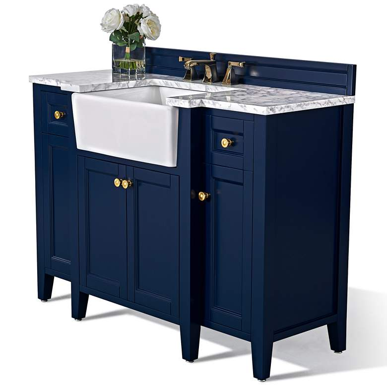 "Adeline Heritage Blue 48""W White Marble Single Sink Vanity more views"