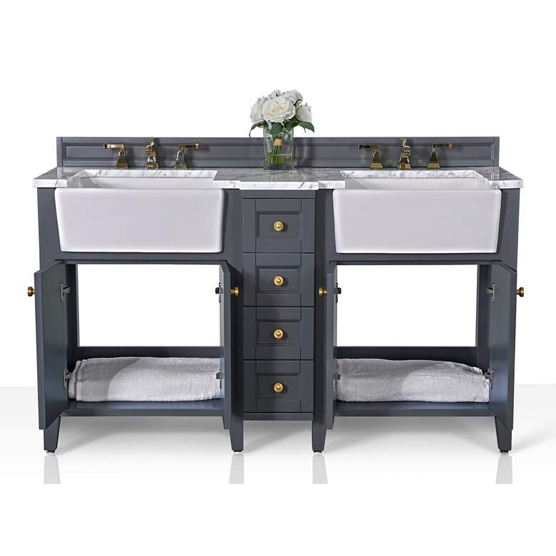 "Adeline Sapphire Gray 60""W White Marble Double Sink Vanity more views"