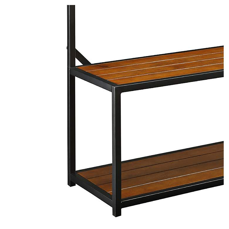 Sonoma Chestnut and Black Hall Bench w/ 7-Hook Hanging Rack more views