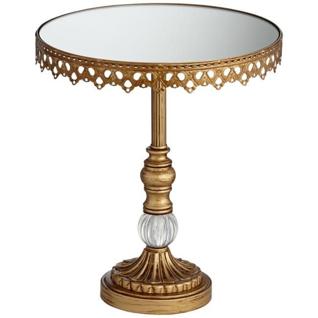 Antique Gold Mirror-Top Round Cake Stands Set of 3