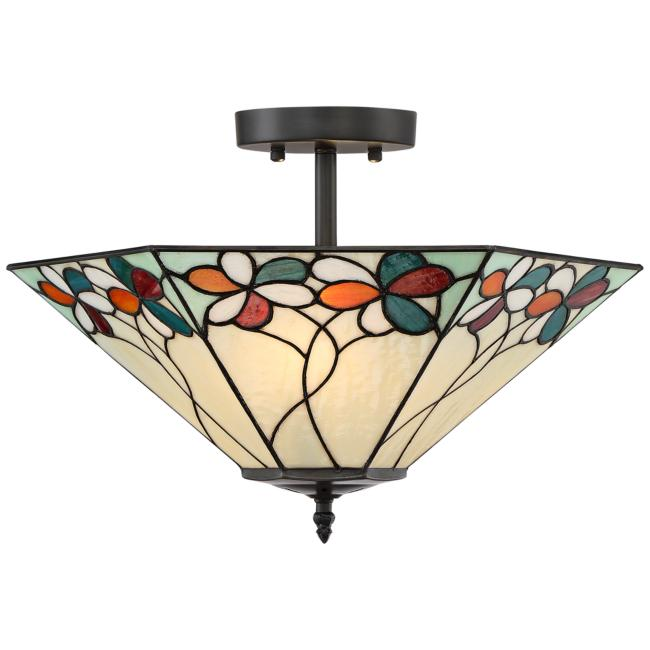 "Bouquet 18"" Wide Bronze Tiffany Style Ceiling Light"
