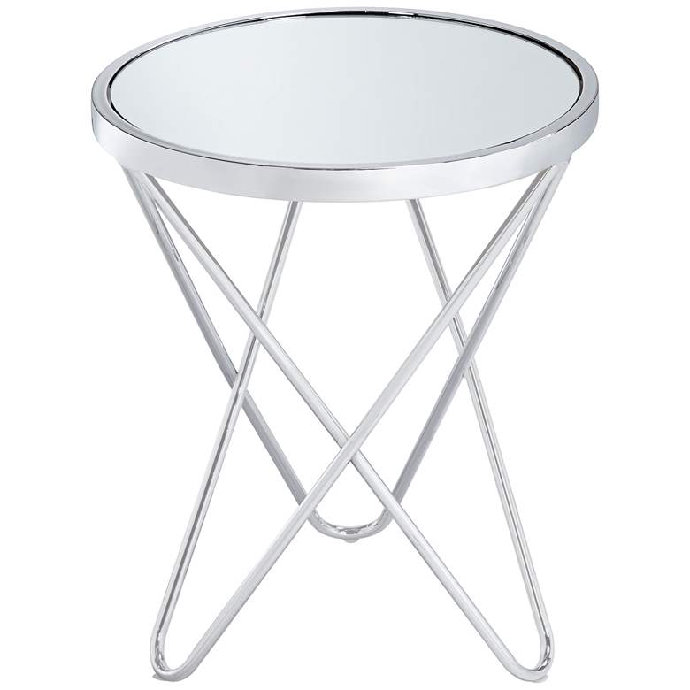 "Marty 17 1/2"" Wide Silver Mirrored Hairpin End Table more views"