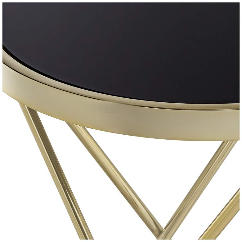 "Marty 17 1/2"" Wide Gold and Black Hairpin End Table more views"