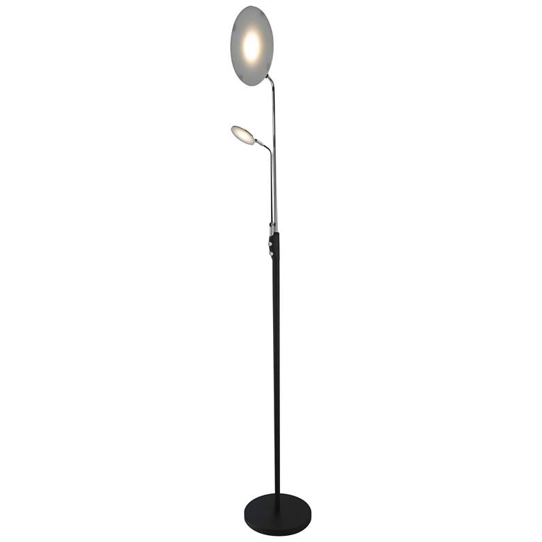 Keira Black LED Torchiere Floor Lamp with Reading Light more views