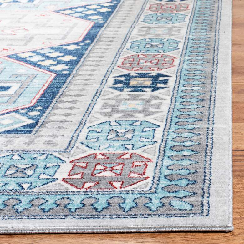 "Safavieh Kazak 100 5'3""x7'6"" Gray and Blue Oriental Area  more views"
