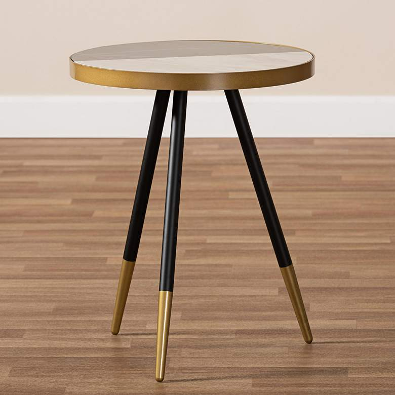 "Baxton Studio Lauro 17""W Round Glossy Marble Top End Table more views"