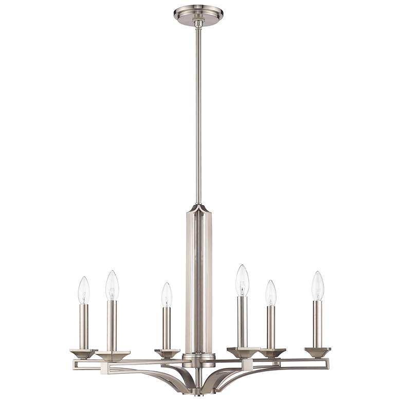 "Trumbull 26"" Wide Brushed Nickel 6-Light Chandelier more views"
