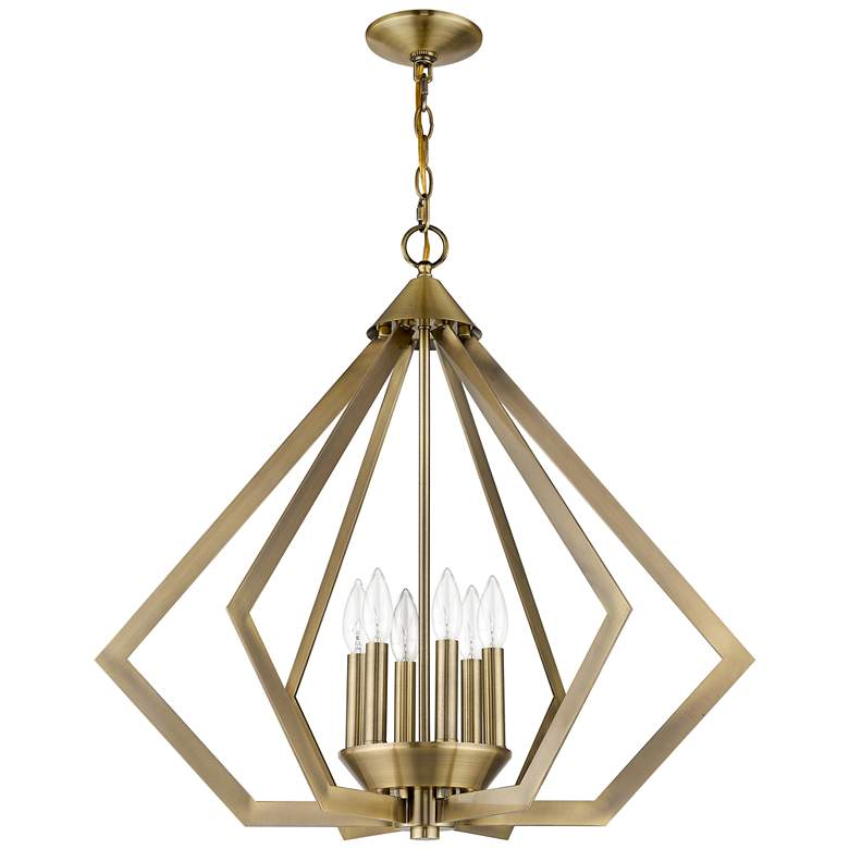 "Prism 26"" Wide Antique Brass 6-Light Chandelier more views"