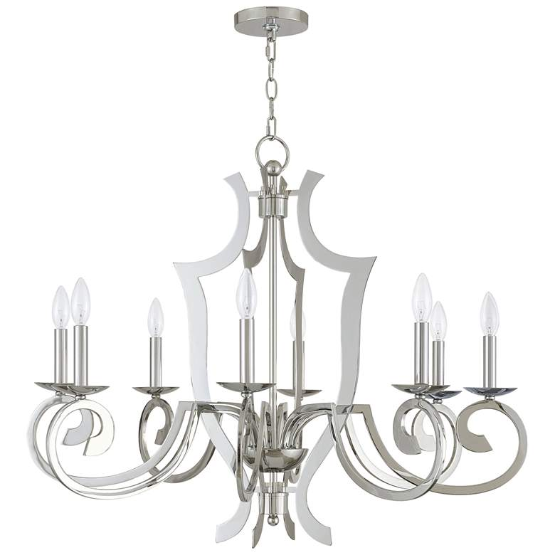 "Aldrich 32 1/2"" Wide Polished Nickel 8-Light Chandelier more views"
