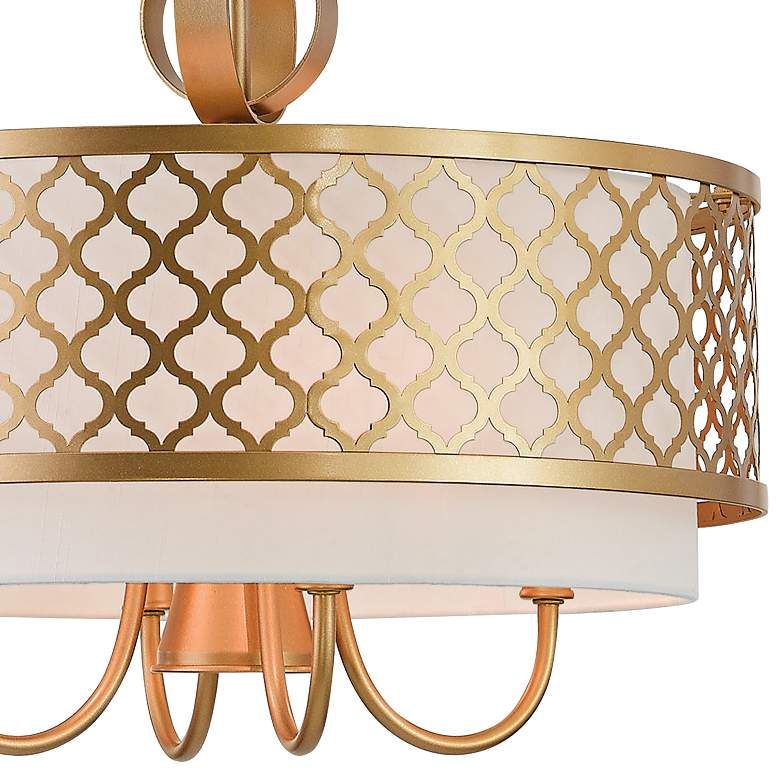 "Arabesque 18"" Wide Soft Gold Drum Pendant with Downlight more views"