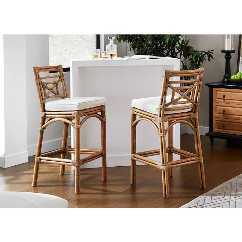 "Plantation Bay 31"" Honey Cushioned Rattan Bar Stool more views"