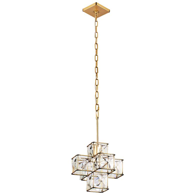 "Varaluz Cubic 12""W Calypso Gold and Crystal Mini Pendant more views"