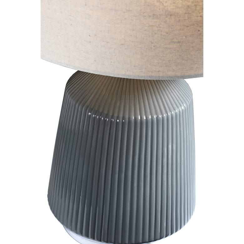 Lite Source Saratoga Gray Ceramic Striped Accent Table Lamp more views