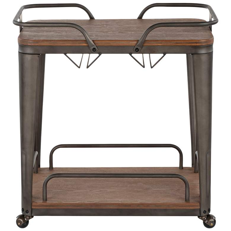 Oregon Espresso Wood and Antique Metal 2-Shelf Bar Cart more views