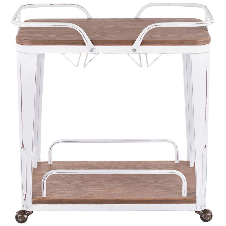 Oregon Brown Wood and Vintage White Metal 2-Shelf Bar Cart more views