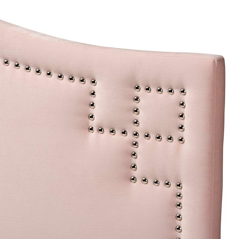 Aubrey Light Pink Velvet Fabric Upholstered King Headboard more views