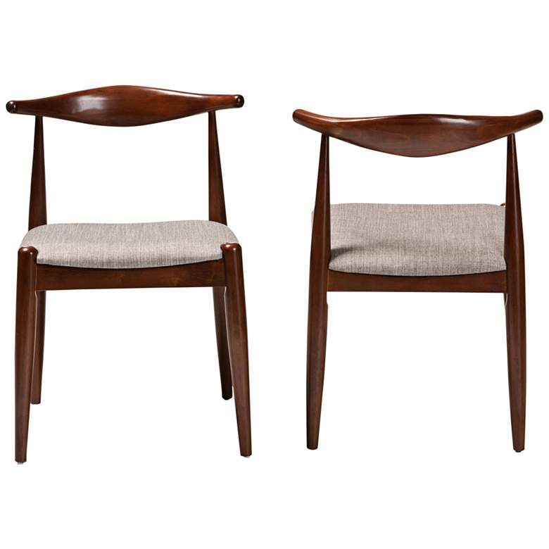Aeron Gray Fabric and Walnut Wood Dining Chairs Set of 2 more views