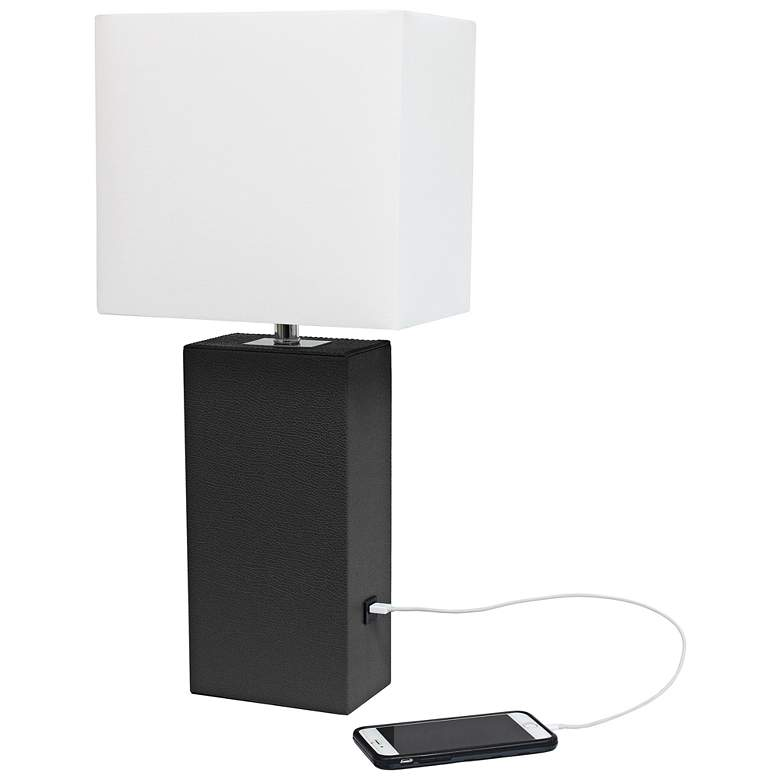 Elegant Designs Black Leather Accent Table Lamp with USB Port more views