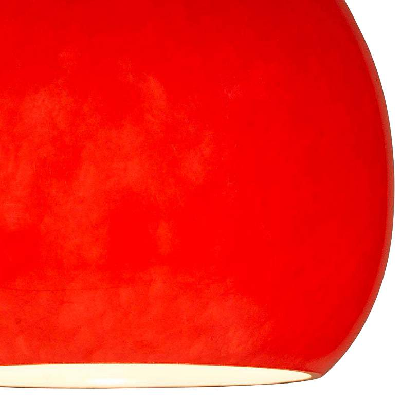 "Red Teardrop 3 3/4"" Wide Brushed Steel LED Mini Pendant more views"