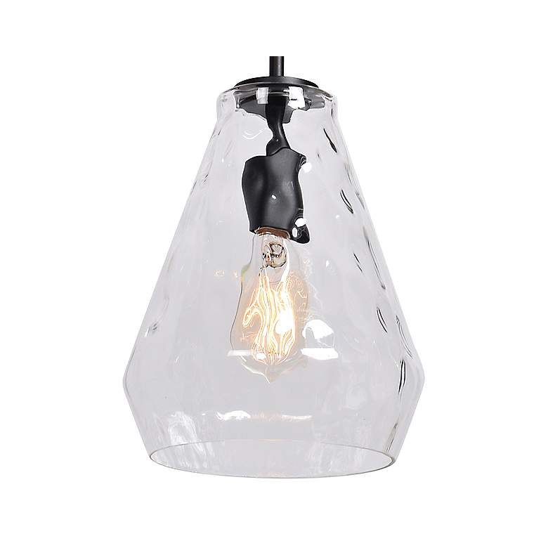 "Simplicite 9"" Wide Black and Glass LED Mini Pendant more views"