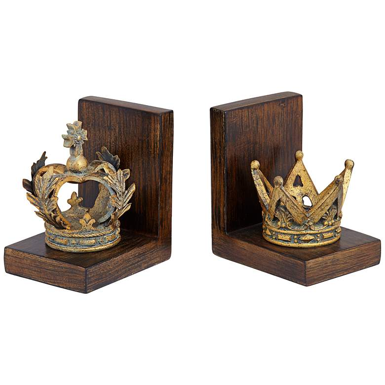 "Golden Crowns 6"" High King and Queen Antique Bookends Set more views"