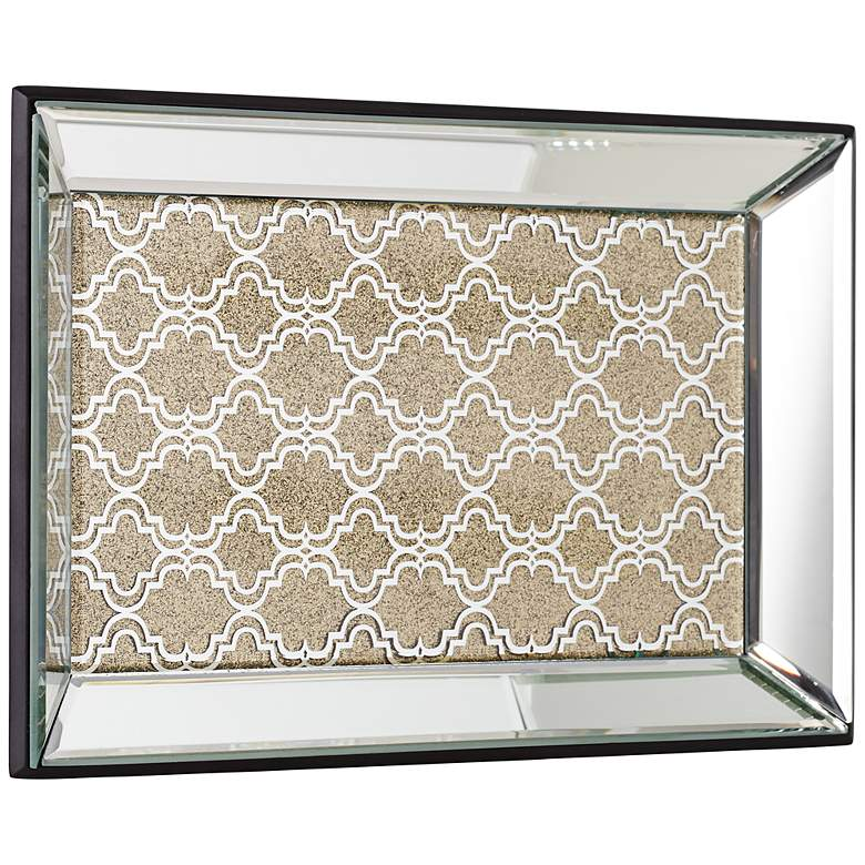 "Geometric 12"" Wide Gold Mirrored Tray more views"
