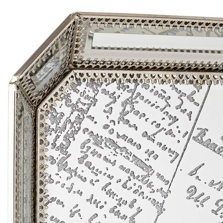 Les Cartes Vintage Silver Script Mirrored Tray more views