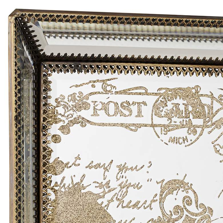 Les Cartes Vintage Gold Script Mirrored Tray more views