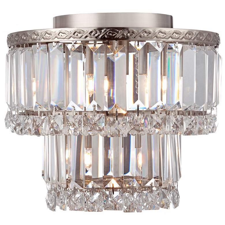 "Magnificence Satin Nickel 10"" Wide Crystal Ceiling Light more views"
