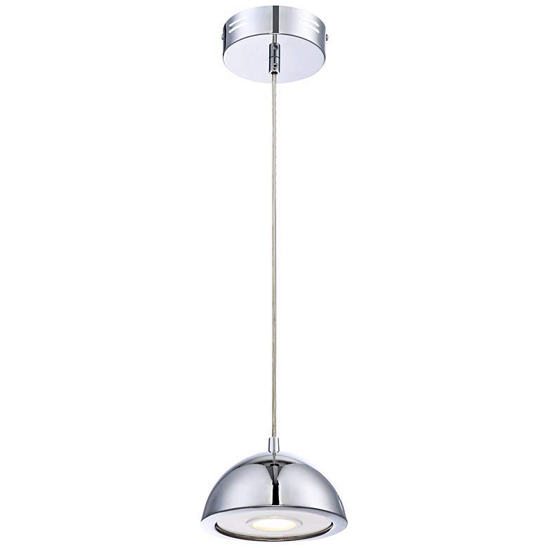 "Possini Euro Design Godori 6"" Wide LED Chrome Mini Pendant more views"