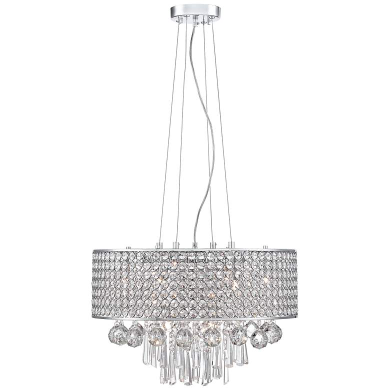 "Elva Chrome 19"" Wide Beaded Crystal Pendant Light more views"
