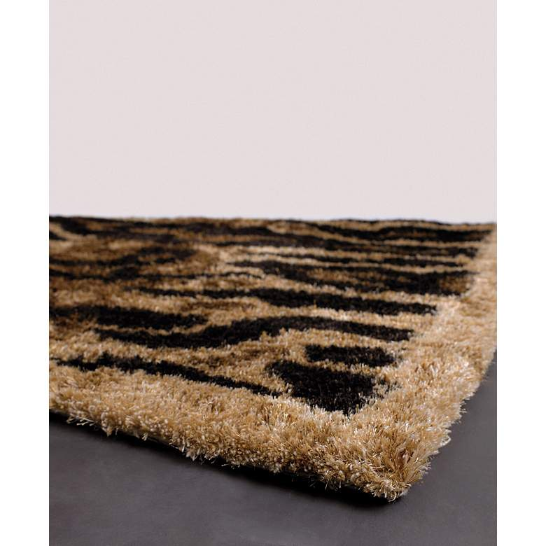 "Chandra AMA5603 5'x7'6"" Black, Tan and Gold Tiger Area Rug more views"