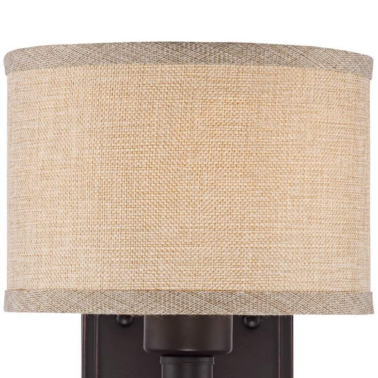 "La Pointe 9"" High Oatmeal Linen Shade Wall Sconce more views"