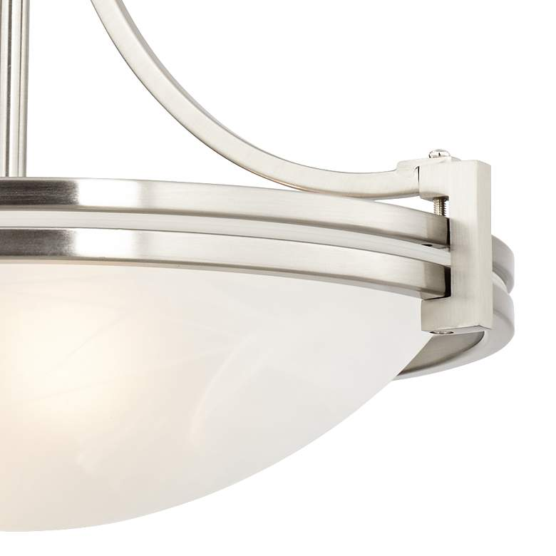 "Possini Euro Deco 12 1/2"" Wide Brushed Nickel Mini Pendant more views"