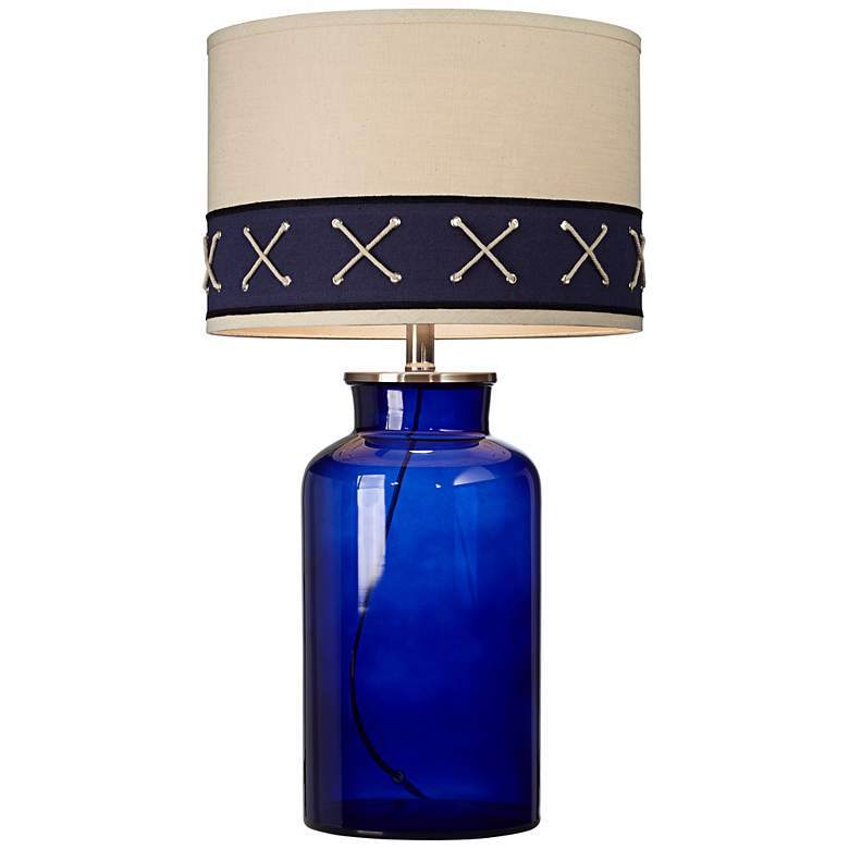Kathy Ireland Home Sail Ahoy Navy Blue Glass Table Lamp more views