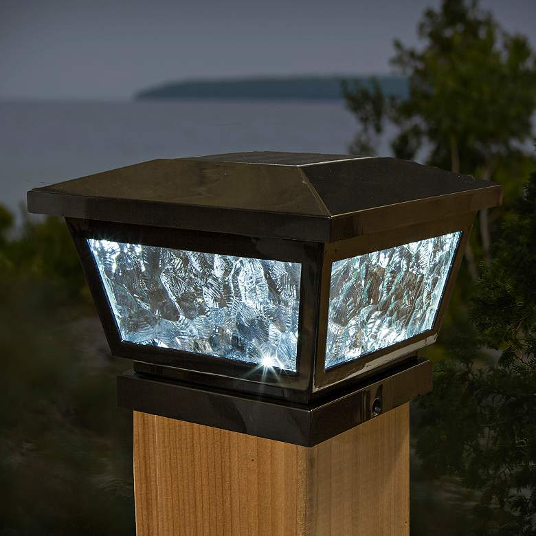 "Fairmont 5""x5"" Black Outdoor LED Solar Post Cap more views"