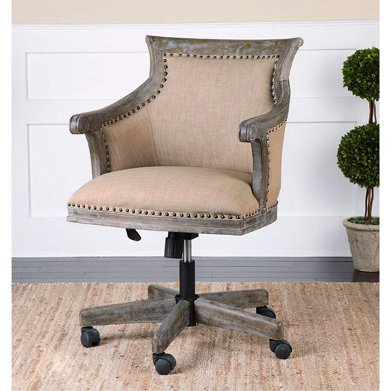 Brilliant Uttermost Kimalina Silver Leaf Linen Swivel Office Chair Cjindustries Chair Design For Home Cjindustriesco
