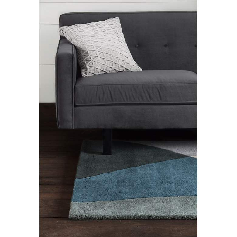 "Chandra BEN3003 5'x7'6"" Blue and Gray Wool Area Rug more views"
