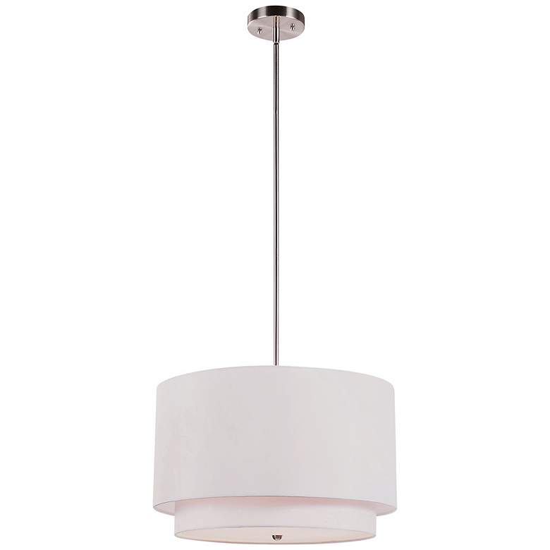 "Rondin 18"" Wide Brushed Nickel White 3-Light Pendant more views"