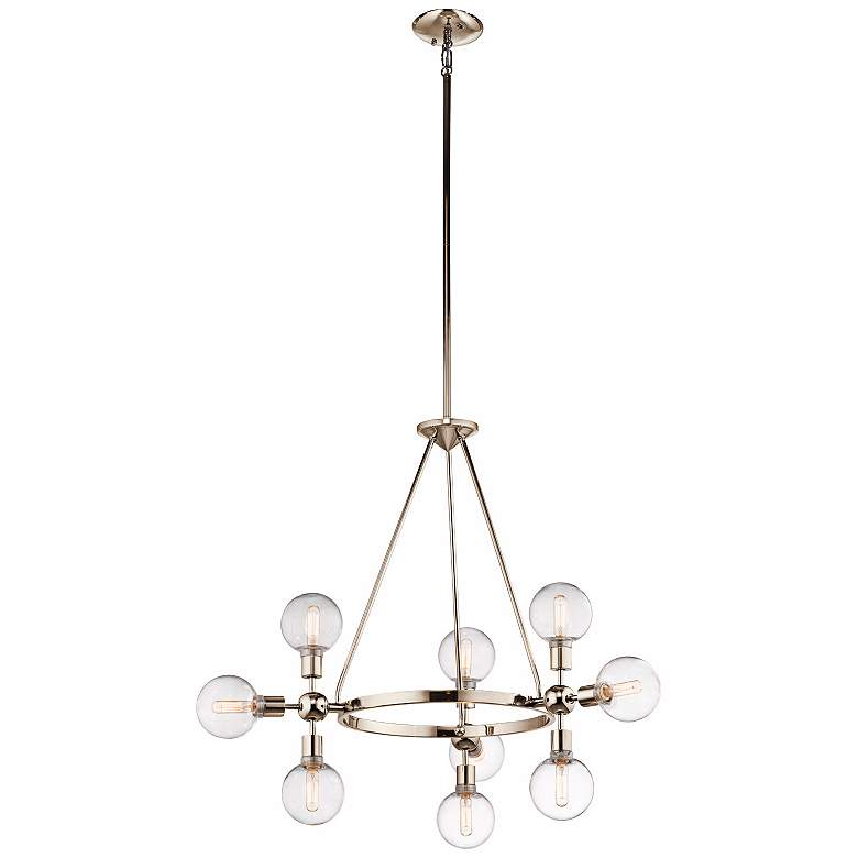 "Kichler Garim 33 1/2"" Wide Nickel 9-Light Cluster Pendant more views"
