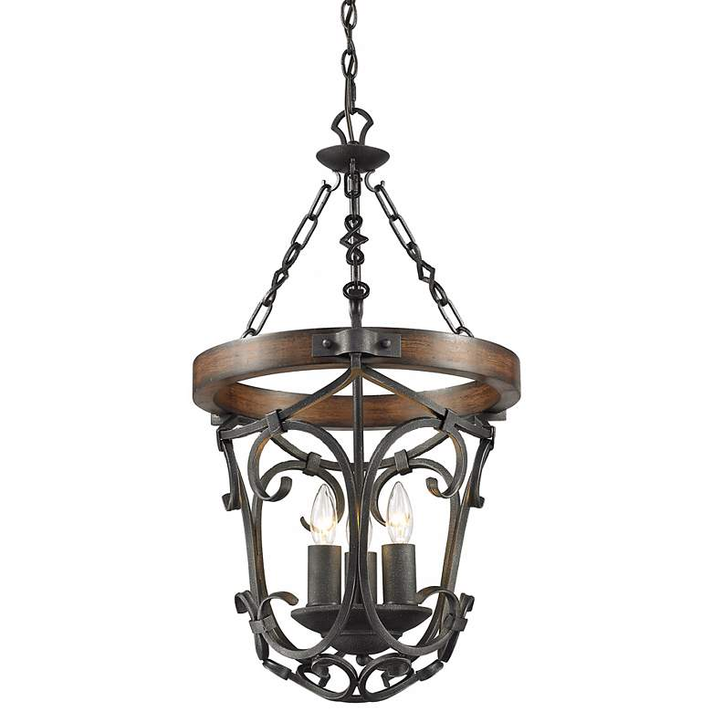 "Madera 16 1/2"" Wide Black Iron Hand-Forged Pendant more views"