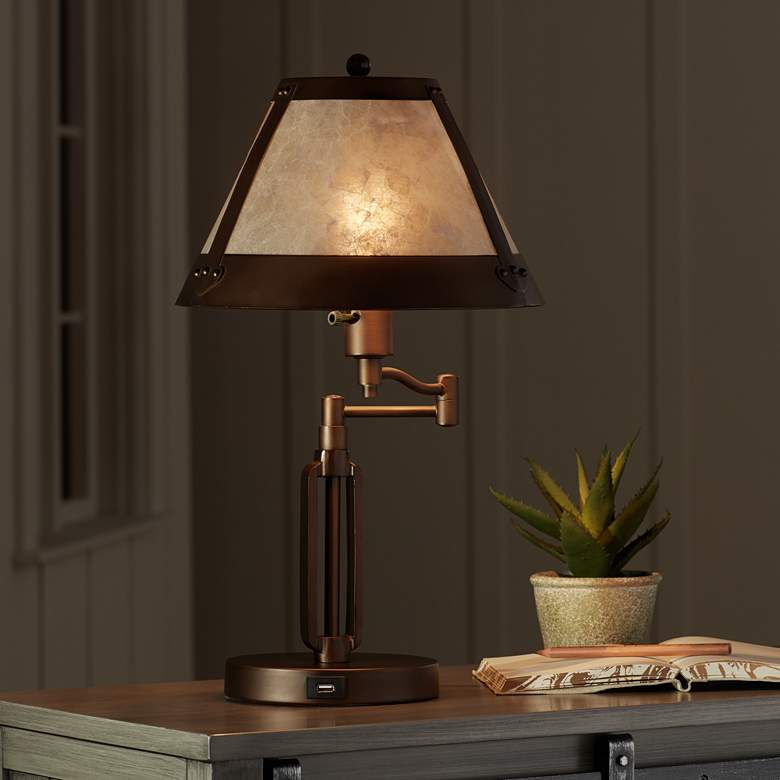Samuel Swing Arm Desk Lamp with Mica Shade and USB Port more views