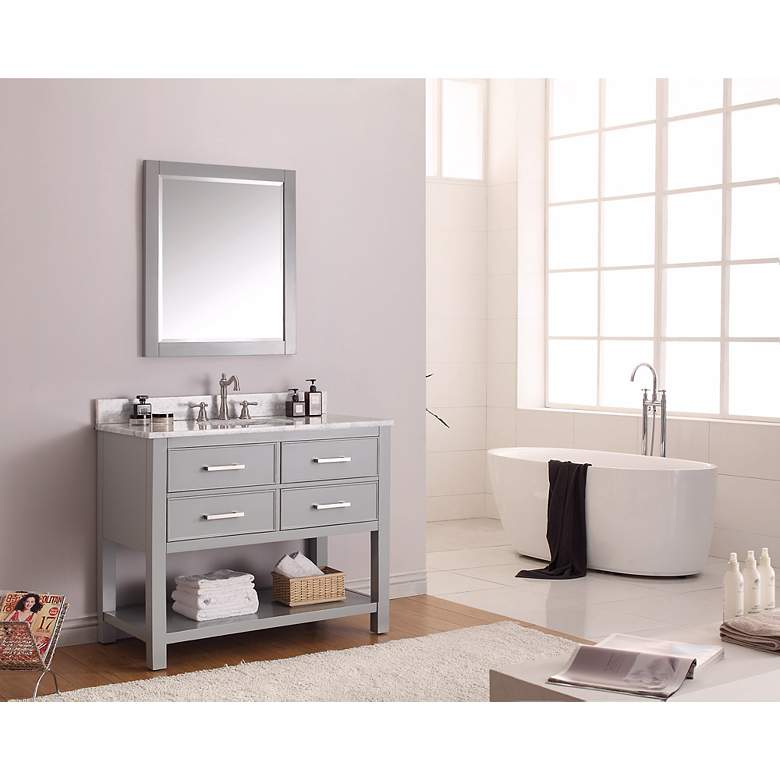 "Avanity Brooks 42"" White Top Gray Single Sink Vanity more views"