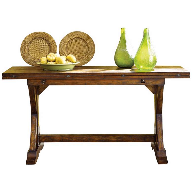 "Hidden Treasures 64"" Rustic Pine Wood Flip-Top Console Table more views"