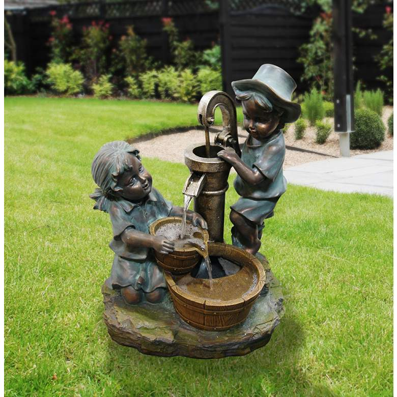 "Fetching Boy and Girl Tabletop 20""H Indoor-Outdoor Fountain more views"