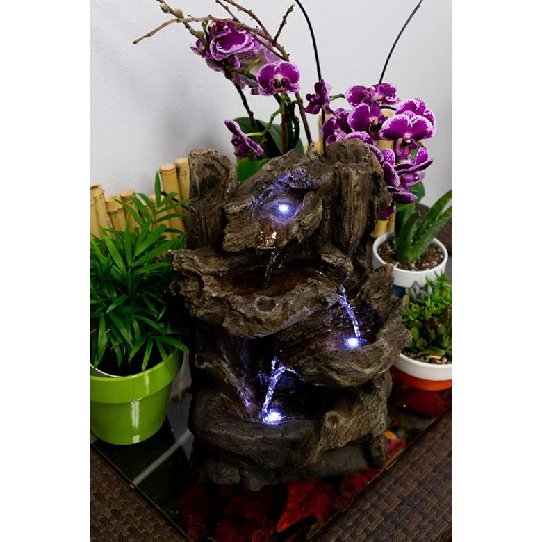 "Tiered Log LED Indoor - Outdoor 14"" High Tabletop Fountain more views"