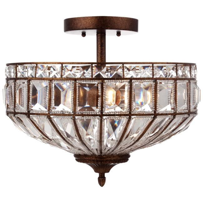 "Ibeza 15"" Wide Crystal Mocha 3-Light Ceiling Light"