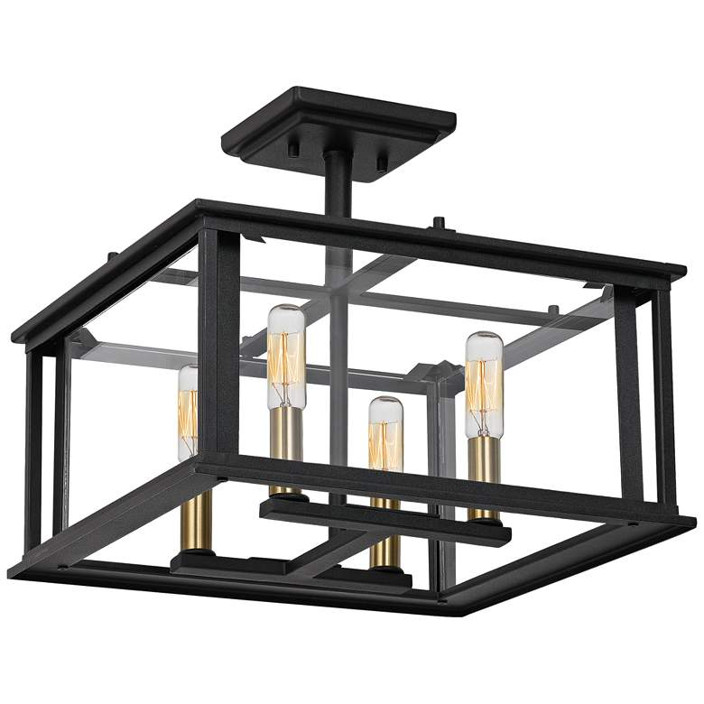 "Quoizel Citadel 14"" Wide Earth Black 4-Light Ceiling Light more views"