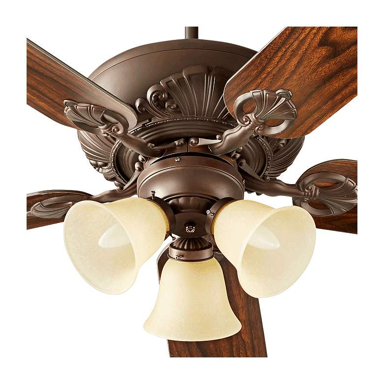 "52"" Chateaux Uni-Pack Oiled Bronze Amber Glass Ceiling Fan more views"